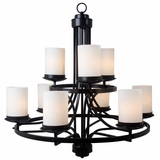 Columbia Rock Enticing Piece of 9 Lights Chandelier in Oil Rubbed Bronze by Yosemite Home Decor