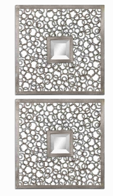 Colusa Squares Wall Mirror with Antique Silver Welded Rings Brand Uttermost