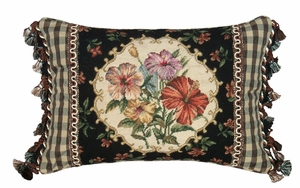Comfortable Hibiscus Needlepoint Pillow by 123 Creations