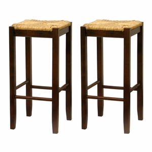 "Winsome Wood Comfortable Set of 2 Rush 29"" Assembled Seat Stool"