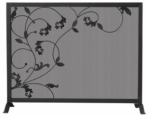 Commanding 3 Fold Black Screen With Flowing Leaf Design