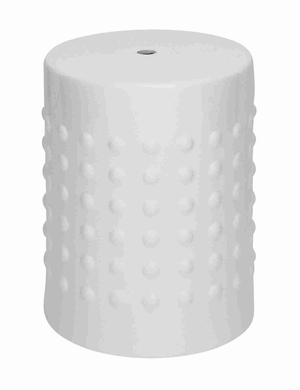 "Compact and Portable 18"" H Ceramic Stool in Glossy White Brand Woodland"