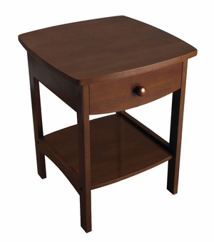 Winsome Wood Compact Curved Wooden End Table with Drawer