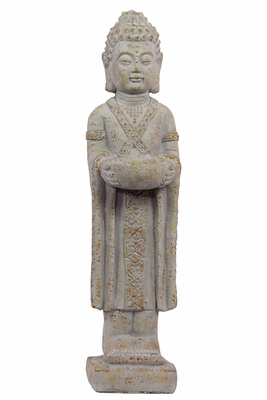 Compassionate and Magnificent Standing White Cement Buddha