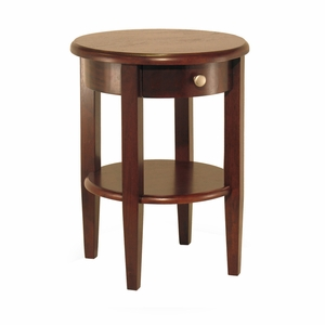 Winsome Wood Concord Round End Table with Drawer and Shelf