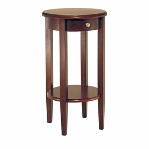 Concord Round End Table with Drawer and Shelf by Winsome Woods