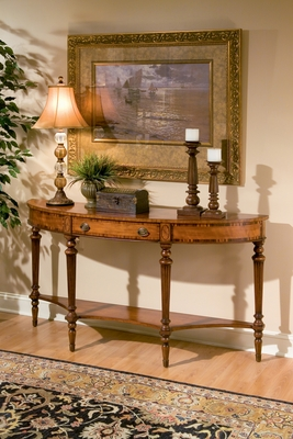 "Connoisseur's Demilune Console 62""W by Butler Specialty"