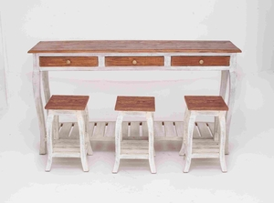 Console Mahogany Wood with 3 Stools in Natural Textures Brand Woodland