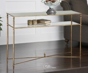 Console Table - Sophisticated Console Table Stand With Gold Leaf Finish Brand Uttermost
