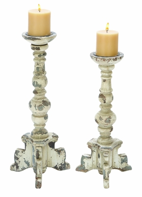 Wooden Candle Holder In Contemporary Rubbed Finish - Set Of 2 - 20408 by Benzara