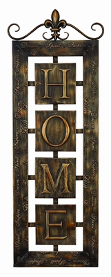 """Contemporary 39"""" Metal Wall Plaque 'Home' in Brown Finish Brand Woodland"""