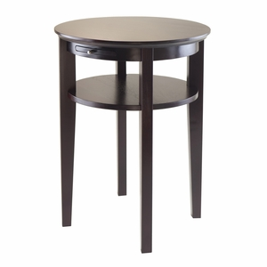 Contemporary Amelia Round End Table with a Pretty Pull out Tray by Winsome Woods