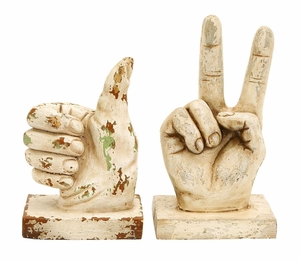Contemporary Assorted Polystone Hand Décor Sculpture- Set of 2 Brand Woodland