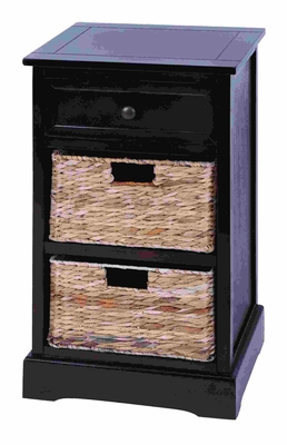 Contemporary Basket Cabinet With 2 Wicker Baskets Brand Woodland