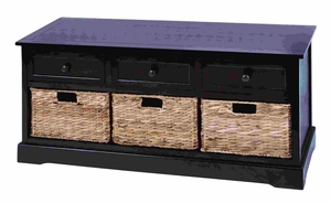 Contemporary Basket Cabinet With 3 Wicker Baskets Side By Side Brand Woodland