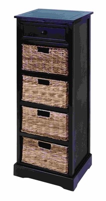 Contemporary Basket Cabinet With 4 Vertical Wicker Baskets Brand Woodland
