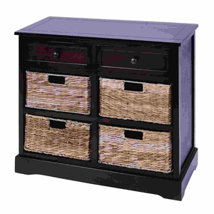 Contemporary Basket Cabinet With 4 Wicker Baskets Brand Woodland