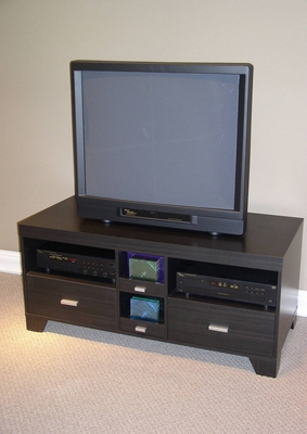 Contemporary Black Wooden Stylish TV Stand with Trendy Drawers by 4D Concepts