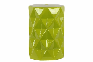 Contemporary Ceramic Stool w/ Geometrical Diamond Shape Pattern in Green