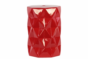 Contemporary Ceramic Stool w/ Geometrical Diamond Shape Pattern in Red