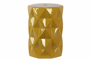 Contemporary Ceramic Stool w/ Geometrical Diamond Shape Pattern in Yellow