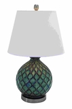 Contemporary Ceramic Table Top Lamp With Coral Waves Brand Woodland