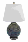 Contemporary Ceramic Table Top Lamp With Ridges Brand Woodland