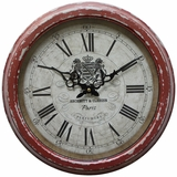Contemporary Circular Red Iron Wall Clock with glass by Yosemite Home Decor