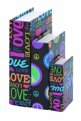 Contemporary Colourful Wooden Canvas Book Box - Set of 3 Brand Woodland