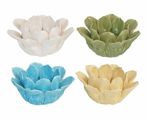 Contemporary Designed Flower Votive Holder 4 Assorted by Three Hands Corp