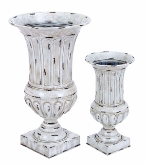 Contemporary Designed Metal Vase Planter in Off White - Set of 2 Brand Woodland