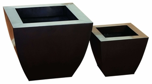 Contemporary Designer Metal Planter in Black - Set of 2 Brand Woodland