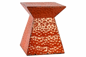 Contemporary Hammered Design Metal Stool in Orange