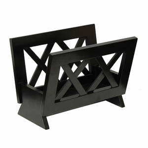 Contemporary Mahogany Solid Wood Magazine Rack by Oceanstar
