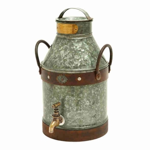Contemporary Metal Galvanized Milk Can with Rust Finished Handles Brand Woodland