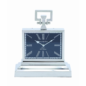 Contemporary Metal Nickel Plated Table Clock with Three Tier Base Brand Woodland