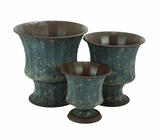 Contemporary Metal Planter with Metallic Bronze Finish - Set of 3 Brand Woodland