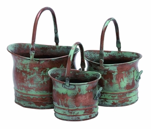 Contemporary Metal Planter with Rustic Style - Set of 3 Brand Woodland