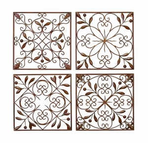 Contemporary Metal Wall Decor with Floral Design - Set of 4 Brand Woodland