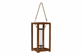Contemporary Metal & Wood Rectangular Shaped Lantern w/ Wooden Pillars & Handle Large