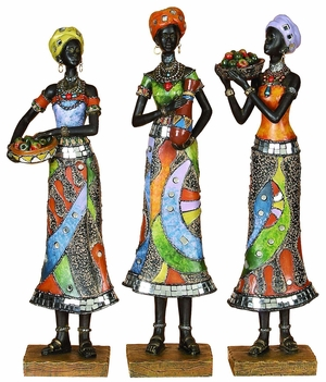 Contemporary Poly Resin African 3 Assorted with Rust Finish Brand Woodland