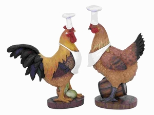 Contemporary Poly Stone Rooster Chef with Unique Style (Set of 2) Brand Woodland