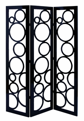 Contemporary Room Dividing Screen With Black Circle Frame Pattern Brand Woodland