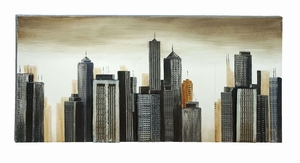 Contemporary Style Black And Tan Painting of a Modern City Scape Brand Woodland