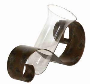 Contemporary Style Curl Flower Vase In Mahogany and Clear Glass Brand Uttermost