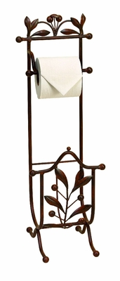 Contemporary Style Metal Toilet Paper Holder in Brown Finish Brand Woodland