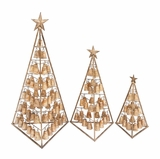 """Contemporary Style Metal Xmas Tree w/ Bells S/3 49"""", 37"""", 25""""H by Woodland Import"""