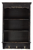 Contemporary Style Wooden Shelf & Hanger in Antique Black