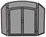 Contemporary Styled 3 Fold Black Wrought Iron Arch Top w/ Doors