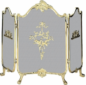 Contemporary Styled 3 Fold Ornate Fully Cast Solid Brass Screen